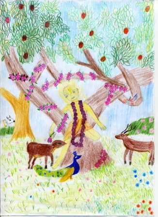 Belme Bernadett (Tilakiní): Az Úr Csaitanya Vrindávana erdejében... Amikor az Úr Caitanya meglátogatta Vrindávana erdőit, az állatok követték őt, mert nagy vonzalmat éreztek iránta.