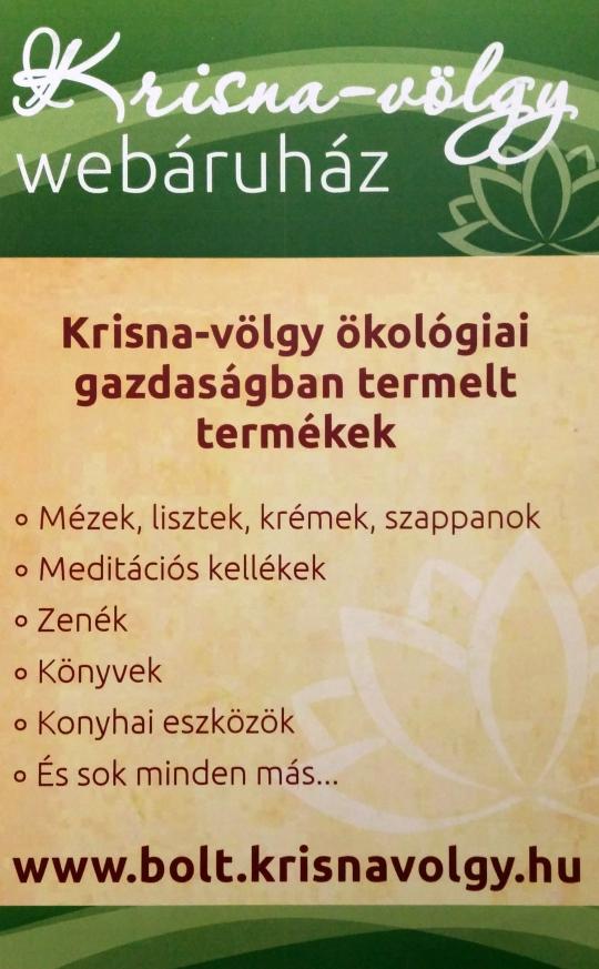 Krisna-völgyi webáruház ahová érdemes betérni :-)