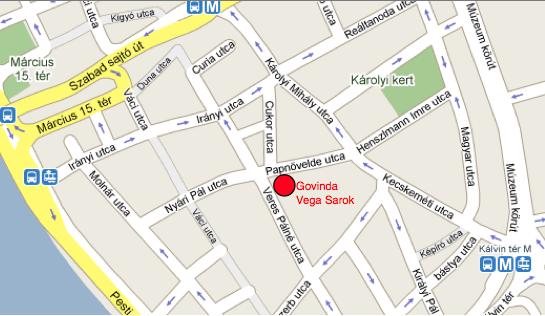 Govinda étterem térképe