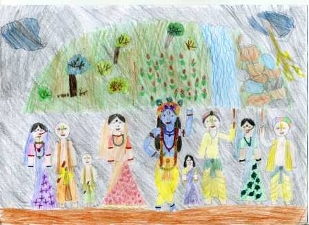Csendes Tulaszi: Krisna felemeli a Góvardhana-hegyet... Krisna felemeli a Góvardhana-hegyet, hogy megvédje Vradzsa lakóit a pusztító esőzéstől.