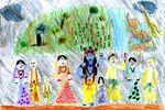 A Krisna-völgyi iskola rajzpályázatának egyik zsűrizett képe